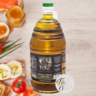 Pons Extra Virgin Olive Oil - Dầu Oliu nguyên chất - Chai nhựa 2lit