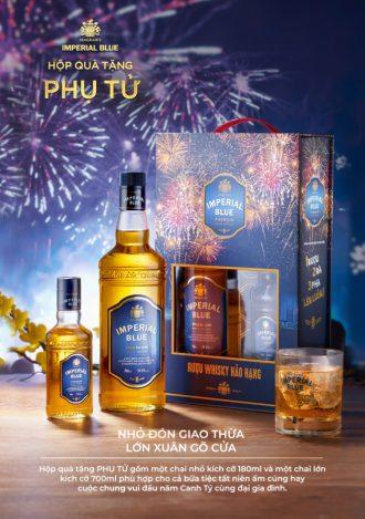 Hộp quà Phụ Tử - 2 chai rượu Imperial Blue Whisky 700ml & 180ml