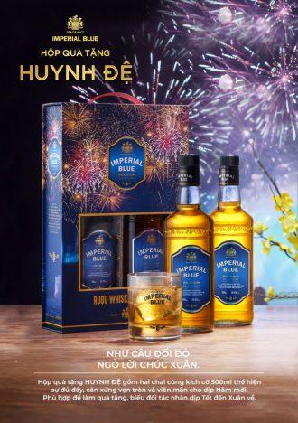 Hộp quà Huynh Đệ - 2 chai rượu Imperial Blue Whisky 500ml