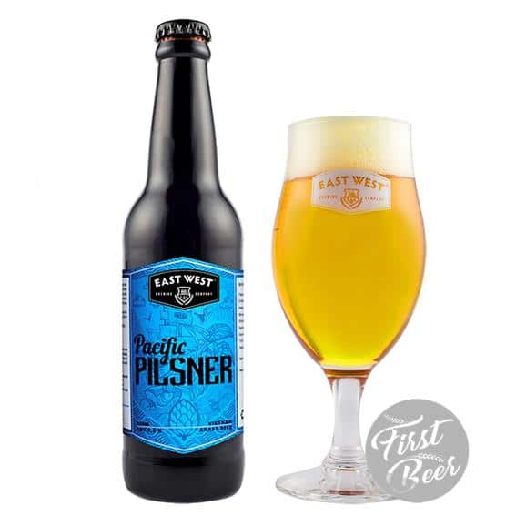 Bia East West Pacific Pilsner 5% – Chai 330ml – Thùng 24 Chai