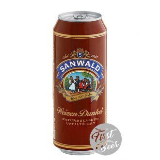 Bia Sanwald Weizen Dunkel 5% – Lon 500ml – Thùng 24 Chai
